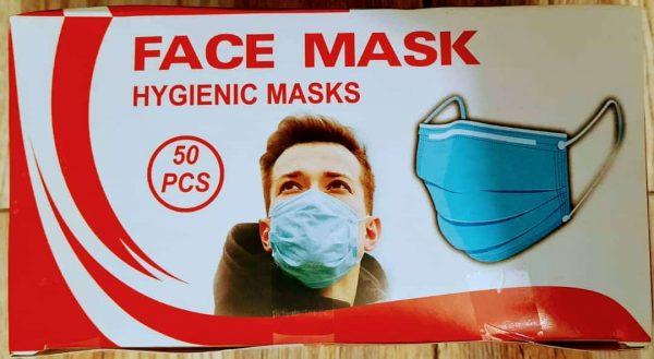 ماسک سه لایه دو رنگ بسته ۵۰ تایی(آبی)